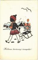 Kellemes karácsonyi ünnepeket! / Christmas greeting art postcard with girl and sled, winter sport
