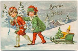 Sretan Bozic! / Croatian Christmas greeting art postcard with children and sled, winter sport (EK)