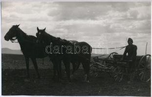 cca 1949 Szántó-vetők, 2 db jelzés nélküli vintage fotóművészeti alkotás Korschelt Miklós (1900-1982) budapesti festő- és fotóművész hagyatékából, 15x23,5 cm