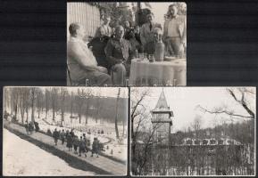 cca 1939 Mátraháza, katonai tiszti üdülő, 3 db vintage fotó ismeretlen család fotóalbumából, az egyik kép feliratozott, 12,3x17,5 cm és 11,3x16,5 cm között
