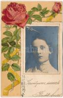 1901 Art Nouveau floral Emb. litho greeting card with photo of a lady glued on the postcard (EB)