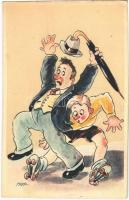 Roller skate, humorous art postcard (EK)