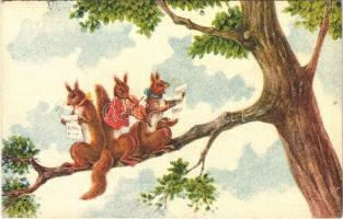 1933 Squirrels singing and playing the violin