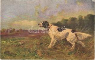 Hunting dog with pheasant. Serie 732. (EK)