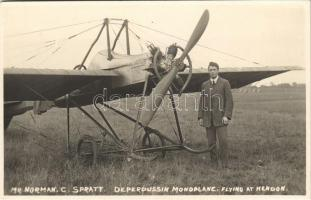 Flying at Hendon, Deperdussin Monoplane aircraft, Mr. Norman C. Spratt. photo