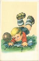 Boy with football, humorous art postcard. Cecami n. 788.