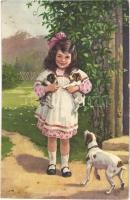 1935 Girl with dog and puppies. Wenau-Delila (EK)