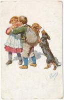 Children art postcard with romantic couple and Dachshund dog. B.K.W.I. 167/4. s: K. Feiertag (EK)