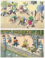 2 db MODERN macska motívum képeslap / 2 modern cat motive postcards: Max Künzli, Alfred Mainzer