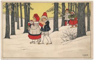 1910 Children art postcard. M. Munk Vienne NNr. 551. s: P. Ebner (EK)