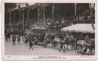 1911 London, Coronation Procession of George V, Their Majesties approaching Westminster Abbey (pinhole)