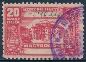 1931 Konzuli illetékbélyeg 20 arany fillér, ritka fekvő vízjellel, luxus minőség (50.000)