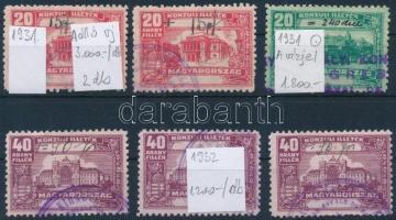 1931-1932 6 db Konzuli illetékbélyeg, pecsételt, jó minőségben (MBÁ 11.400)
