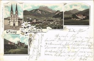 1895 (Vorläufer!!!) Admont (Steiermark), Blasius Münster, Röthelstein, Frauenberg / monastery, general view, castle. H. Metz Art Nouveau, floral, litho (fl)