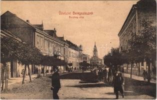 1907 Beregszász, Beregovo, Berehove; Bocskay utca, ökörszekér. Auer K. és Kovács K. kiadása / street, oxen cart