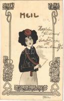 1902 Heil / Lady smoking a cigarette. Art Nouveau litho A. Sockl Wien I. 783. s: Fritz Smrczka