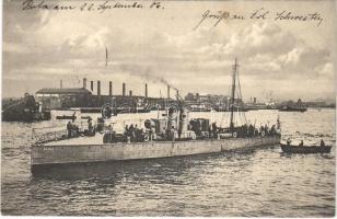 1906 SMS Kaiman (később SM Tb 50 T) osztrák-magyar haditengerészet Kaiman-osztályú torpedónaszádja / K.u.K. Kriegsmarine SM Torpedoboot Kaimann / Austro-Hungarian Navy SMS Kaiman (later SM Tb 50T) Kaiman-class torpedo boat. Phot. A. Beer. Verlag F.W. Schrinner, Pola