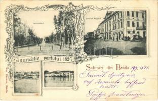 1899 Braila, Inundatia portului 1897. Monument, Strada Regala, Desfacere Totala / flooding of the port in 1897, monument, street view, shop. Max Ekstein Art Nouveau, floral (EK)