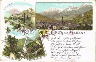 Merano, Meran (Südtirol); Gilfanlage, Zenoburg, Schloss Tirol / castles. Art Nouveau, floral, litho (small tear)
