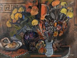 Sugár Gyula (1924-1991): Csendélet. Olaj, vászon, jelzett. Hátoldalán Képcsarnok Vállalat kissé sérült címkéjével. Üvegezett fa keretben, 60×80 cm