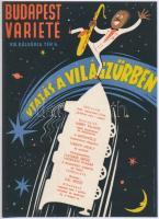 1957 Villamosplakát: Utazás a világűrben Budapest Varieté, 23,5x16,5 cm