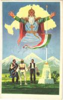 1939 Szent István országa, Nagyság és béke. Az Ereklyés Országzászló Nagybizottság kiadása / Hungarian irredenta art postcard (EK)