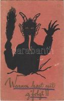 1925 Warum hast nit gfolgt!! / Krampus art postcard