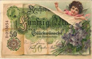 1909 Fünfzig Mark. Glückwünsche zum Namenstage / Name Day greeting art postcard with German banknote. Art Nouveau, floral, litho