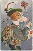 Barsoi als Bergfex. Humoristische Hunde / A Barsoi as a Mountain Climber. Humorous Dogs Serie 2047/6. s: Schröpler (ázott / wet damage)