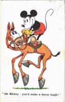 1931 Oh Mickey - youd make a horse laugh! Mickey Mouse art postcard. A.R. i. B. 1784. Universal Copyright Walter E. Disney