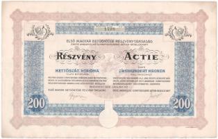 Budapest 1916. Első Magyar Betűöntöde Részvény-Társaság részvénye 200K-ról szelvényekkel, szárazpecséttel T:I- fo.