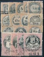 1880 16 db különböző régi magyar okmánybélyeg