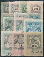 1898 13 db különböző régi magyar okmánybélyeg