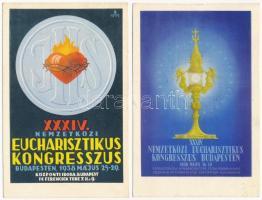 1938 Budapest XXXIV. Nemzetközi Eucharisztikus Kongresszus / 34th International Eucharistic Congress - 2 db képeslap / 2 postcards