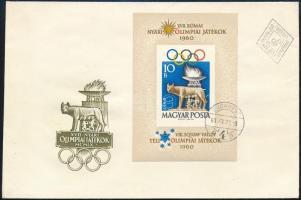 1960 Olimpia (I.) - Róma vágott blokk FDC-n (10.000)
