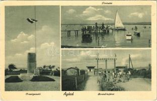 1944 Agárd (Gárdony), Országzászló, Velencei-tó, vitorlás, evezős csónakok, fürdőzők, strand bejárat (EK)