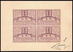 cca 1930 Mesterséges édesítőszer zárjegy négyestömb nyomdai jóváhagyó minta