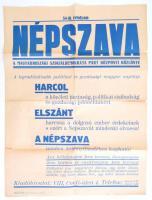 cca 1918 Népszava reklám plakát hajtva, kis szakadással 60x46 cm