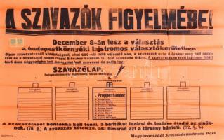 cca 1930 MSZDP Szociáldemokrata választási plakát 100x60 cm