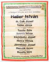 cca 1925 Keresztény Gazdasági és Szociális Párt választási plakát. 48x65 cm Illetékbélyegekkel