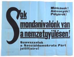 1920 MSZDP Szociáldemokrata párt nemzetpgyűlési választási plakát 62x48 cm