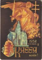 1938 November 11. Kassa hazatért! Magyar címeres irredenta / Kosice, Hungarian irredenta art postcard with coat of arms + 1943 Cassowai Bélyegkiállítás So. Stpl (EK)