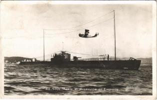 1938 Sous Marin S1 et Hydravion en Exercice / French Navy submarine and hydroplane (seaplane)