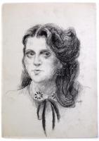 Élesdy István (1912-1987): 2 hölgy portréja (egy lapon). Szén, papír, jelzett. Lap közepén hajtásnyommal. 34×49,5 cm