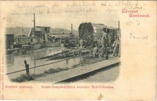 1900 Gombos, Bogojeva; Gőzkomp Erdőd és Gombos között, állomás kotróhajóval. Schön Adolf kiadása / Donau-Dampfschiffähre / steam ferry with locomotive and dredge (Rb)
