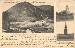 1905 Alsóverecke, Niznije Verecki, Nizsnyi Vorota, Nyzhni Vorota; Görög katolikus templom, Beszkidi emlékoszlop. A. Schwidernoch No. 8606. / church, monument