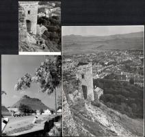 cca 1967 Sümegi vár, 3 db vintage fotó, az egyik feliratozva, 12x9 cm és 24x18 cm között