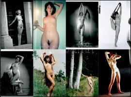 Különböző időpontokban, eltérő helyszíneken, több fotómodell közreműködésével készült 11 db szolidan erotikus fotó, mai nagyítások, 15x10 cm