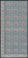 1921/1924 Hivatalos 5000K kék alapnyomattal ívsarki 24-es tömbben (28.800) (ráncok, törések, fogelválások / creases, folds, aparted perfs.)