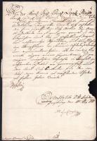 1781 Sófőtárnoki kinevezés Gazda Imre részére II. József császár (1741-1790) és Csergheő Mihály királyi testőr, később helytartótanácsos autográf aláírásával papírfelzetes császári viaszpecséttel